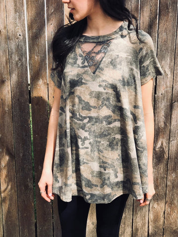 Camo and Lace Top - Aunt Lillie Bells