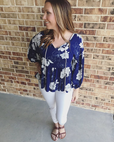 Navy Flower Print Top - Aunt Lillie Bells