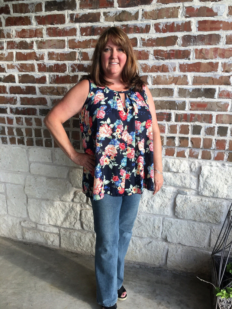 Navy Floral Print Top - Aunt Lillie Bells