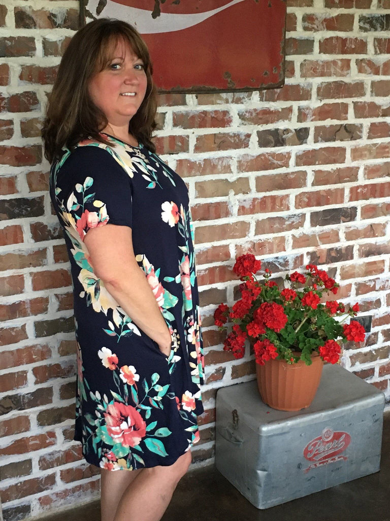 Navy Floral Swing Dress - Aunt Lillie Bells
