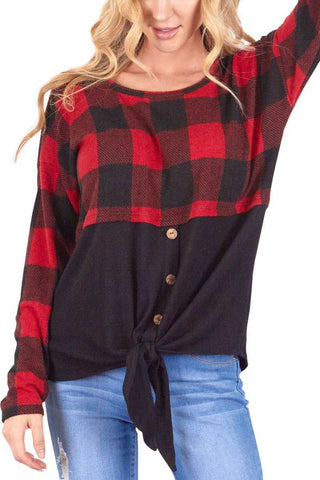Red and Black Buffalo Plaid Color Block Top