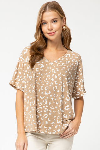 leopard top in latte neutrals