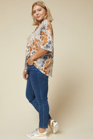 camel tie-dye top in plus sizes