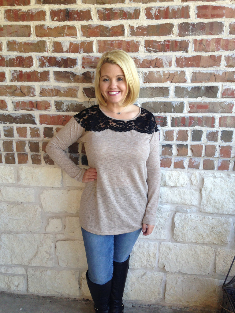 Taupe And Black Lace Top - Aunt Lillie Bells - 1