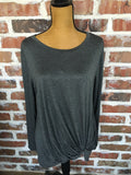 Grey Front Twist a Tunic Top - Aunt Lillie Bells