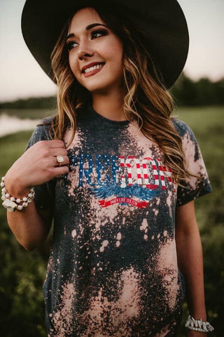 freedom  patriotic 4th of july bleached tee