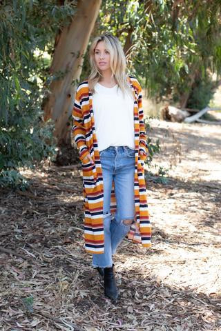 Fall Striped Duster Cardigan