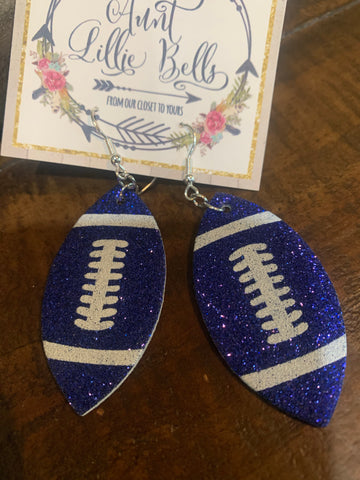 Football Earrings in Royal Blue