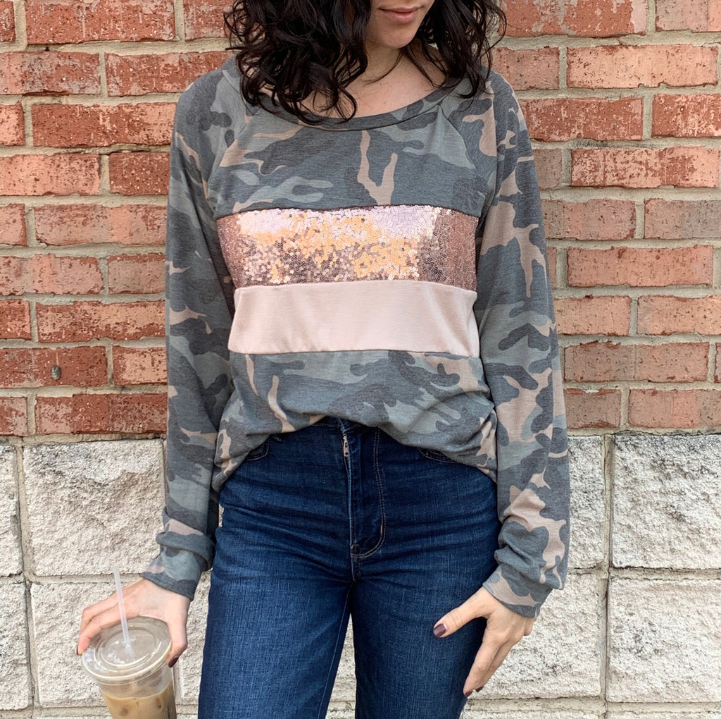 Camo and Sequin Top