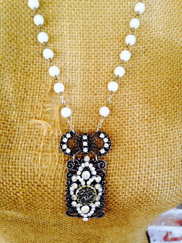 Rhinestone And Pearl Necklace - Aunt Lillie Bells