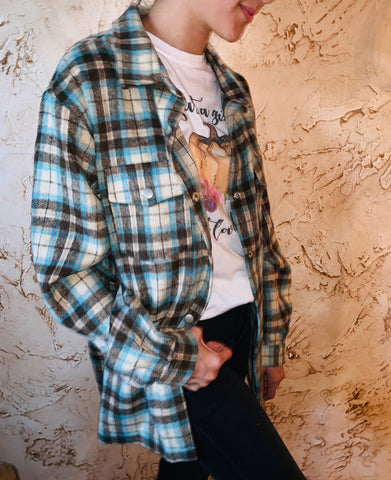 turqoise plaid flannell shirt
