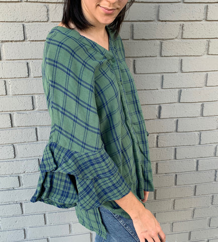 Green Plaid Top with Ruffle Sleeves