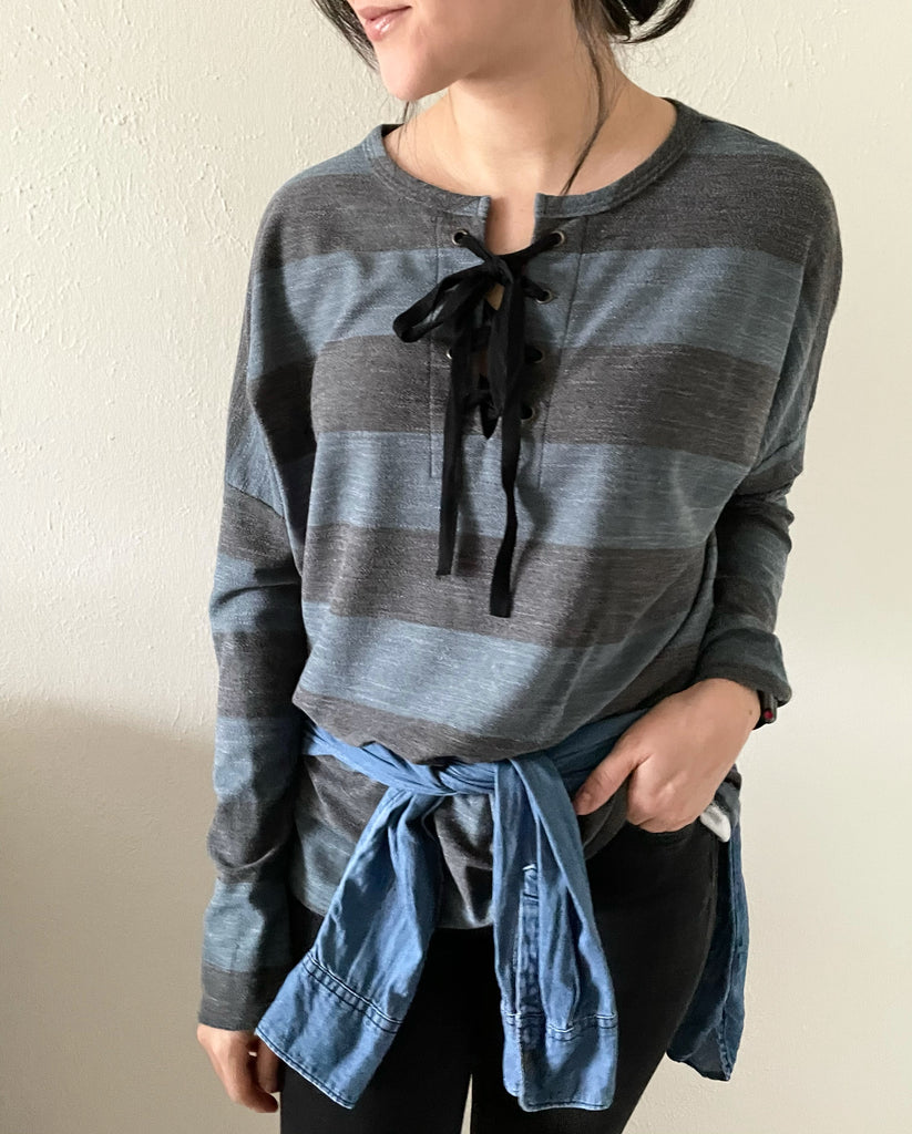 Teal Lace Up Stripe Top
