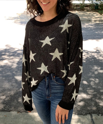 star sweater in black and white