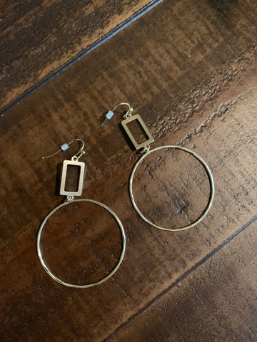 gold rectangle and circle earrings
