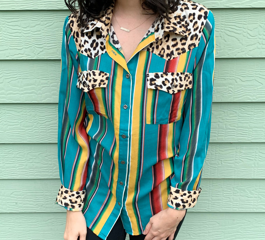 turquoise and leopard stripe top