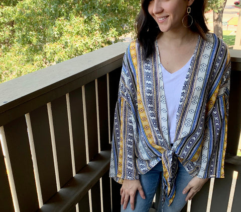 boho mustard and blue print cardigan with a front tie