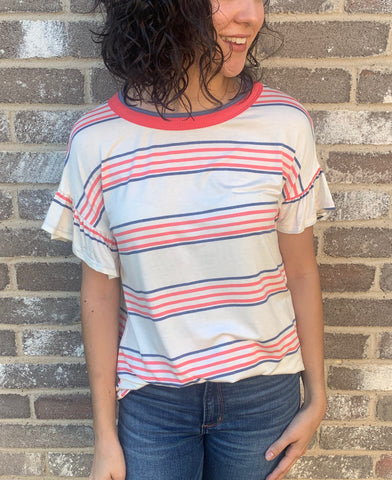 Coral Striped Tee with Ruffle Sleeves