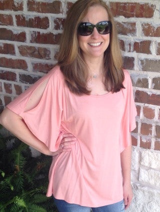 Blush Top With Open Sleeves - Aunt Lillie Bells