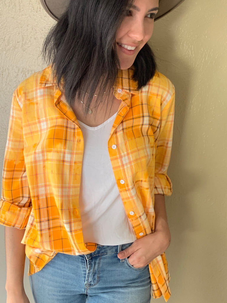 yellow plaid flannel with embroidery