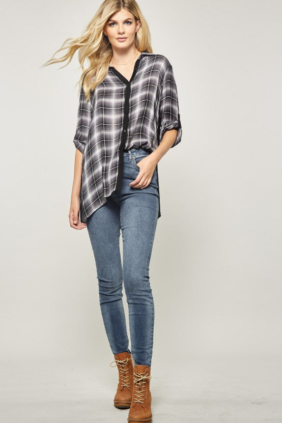 Embroidered Black and White Checked top