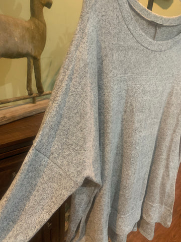 Grey Drop Shoulder Top
