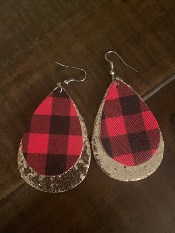 red and black buffalo plaid leather earrings