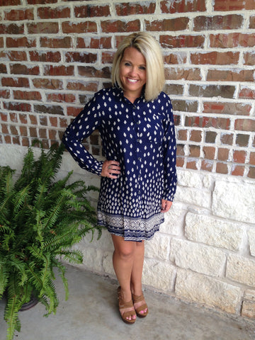 Navy Print Shirt Dress - Aunt Lillie Bells