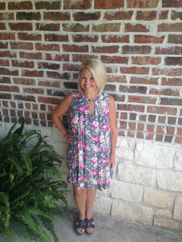 Grey Floral Print Dress - Aunt Lillie Bells