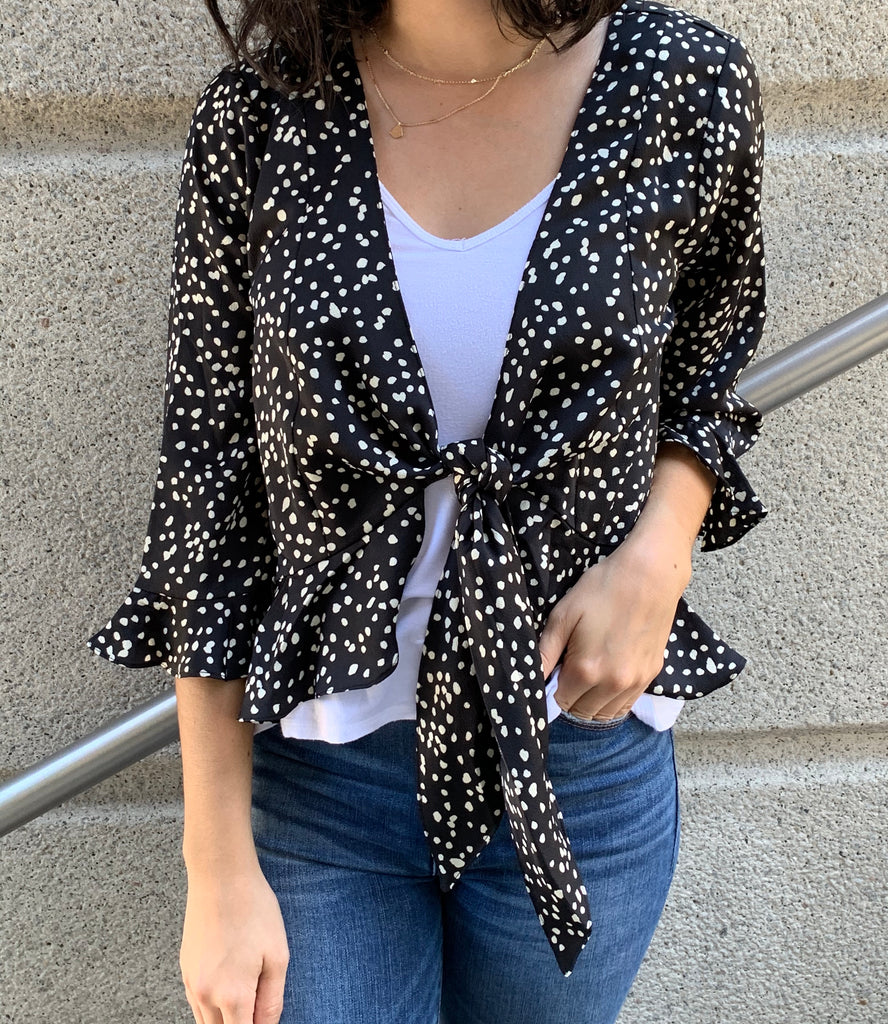 black animal print cardigan