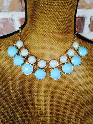 Blue Statement Necklace - Aunt Lillie Bells