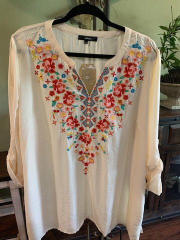 Ivory and Floral Embroidery Top