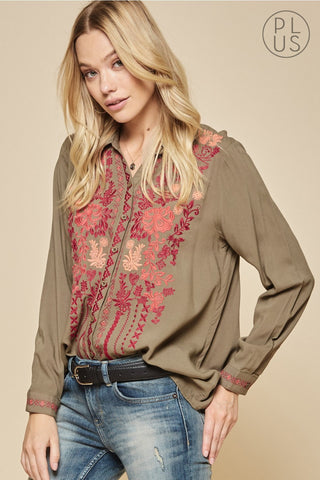 olive green embroidery blouse in plus sizes