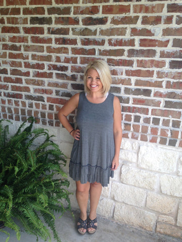 Grey Ruffle Dress - Aunt Lillie Bells