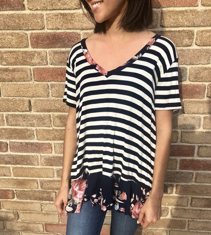 Navy Stripe and Floral Ruffle Top - Aunt Lillie Bells