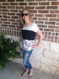 Black And White Floral Print Top - Aunt Lillie Bells
