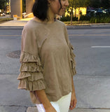 Latte Layered Ruffle Sleeve Top