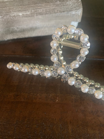 pearl and rhinestone gold metal hair claw