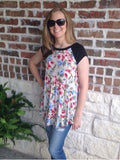 Floral Print Top With Black Drop Sleeves - Aunt Lillie Bells