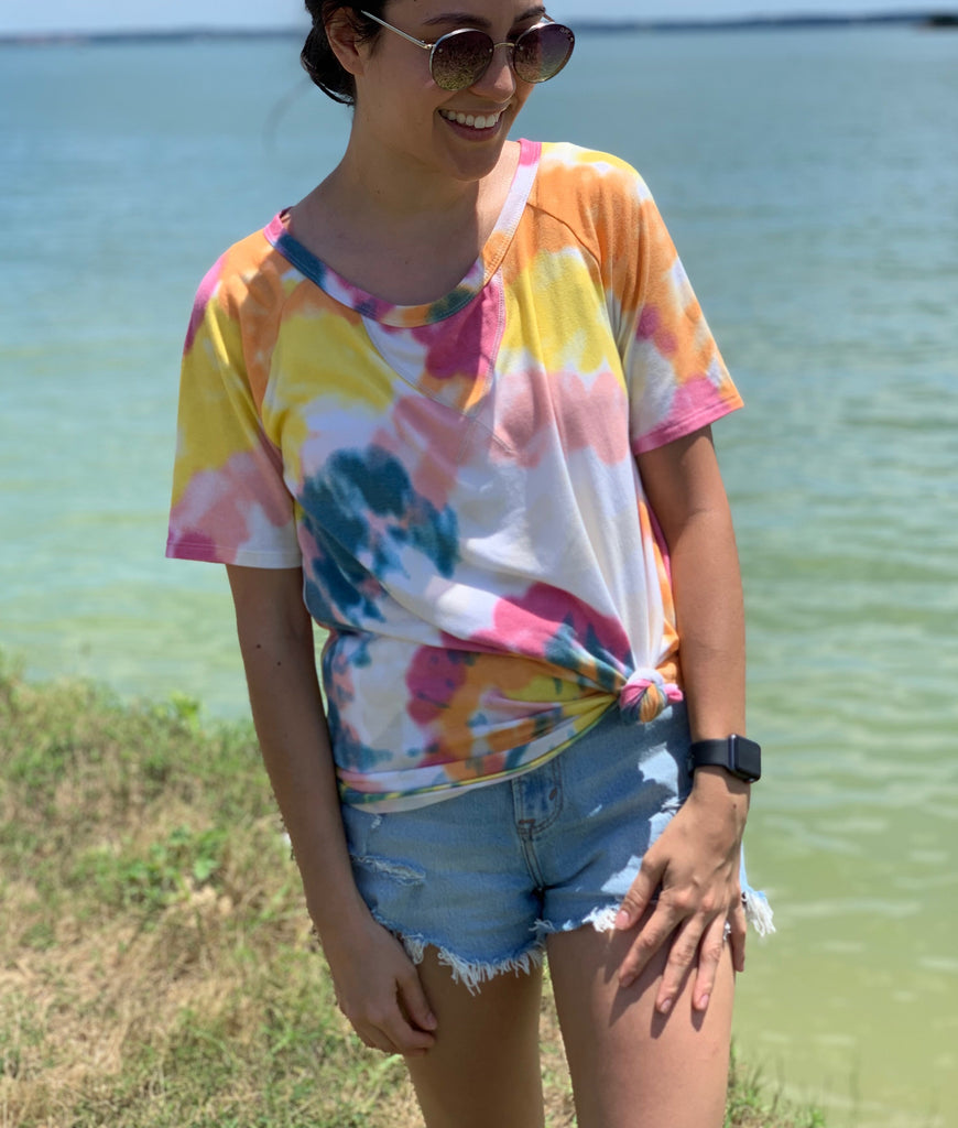 summer tie dye top in yellow and pink