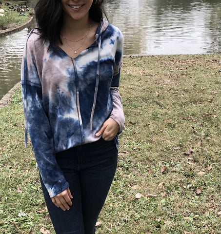 Navy and Taupe Tie-Dye Hoodie