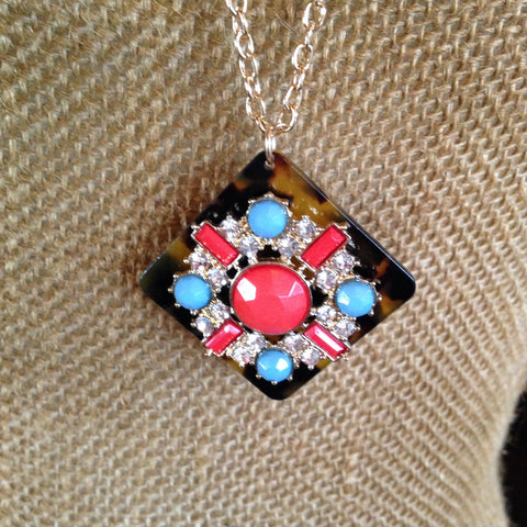 Turquoise and coral Necklace - Aunt Lillie Bells