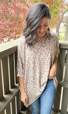 brown leopard dolman sleeve top