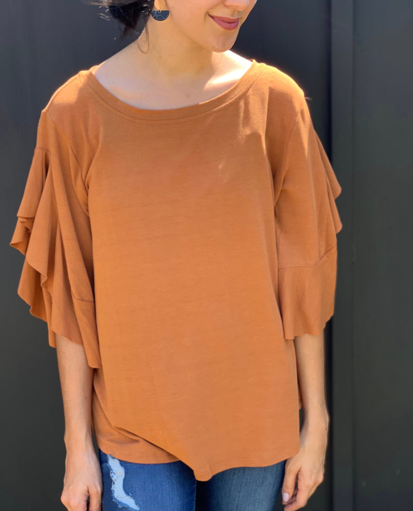 amber ruffle sleeve blouse for fall in our texas boutique