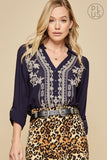 Navy Embroidery Top