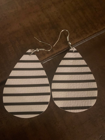 black and white striped leather earrings