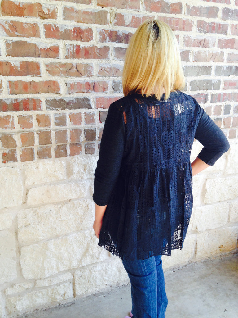 Black Lace Top - Aunt Lillie Bells