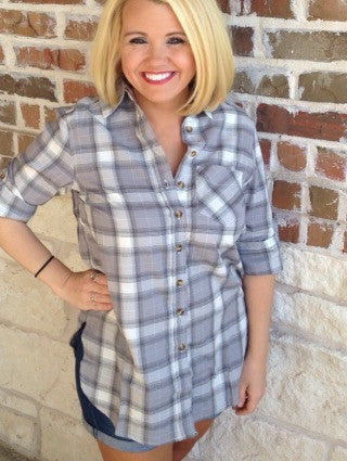 Grey And White Plaid Shirt - Aunt Lillie Bells
