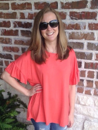 Dark Coral Ruffle Sleeve Top - Aunt Lillie Bells