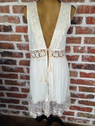 Ivory And Lace Long Vest - Aunt Lillie Bells